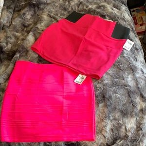 Two hot pink mini skirts *brand new with tags*